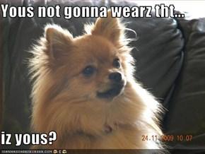 Yous not gonna wearz tht...  iz yous?