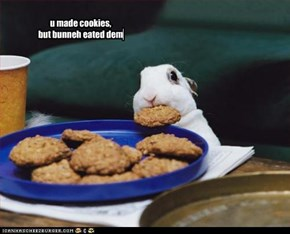 u made cookies,  but bunneh eated dem