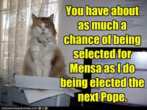 And the cat's a Catholic