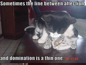 Sometimes the line between affection   and domination is a thin one.