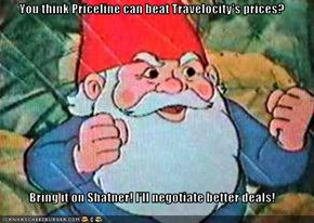You think Priceline can beat Travelocity's prices?  Bring it on Shatner! I'll negotiate better deals!