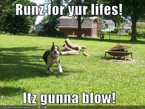 Runz for yur lifes!  Itz gunna blow!