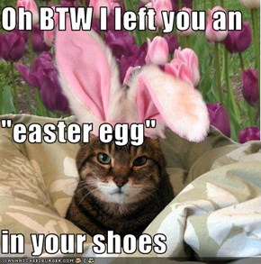"Oh BTW I left you an  ""easter egg"" in your shoes"