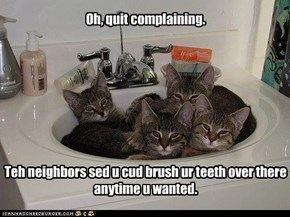 Oh, quit complaining.         Teh neighbors sed u cud brush ur teeth over there anytime u wanted.