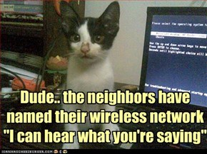 "Dude.. the neighbors have named their wireless network ""I can hear what you're saying"""
