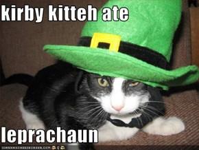 kirby kitteh ate  leprachaun