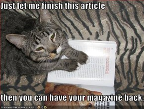 Just let me finish this article  then you can have your magazine back.