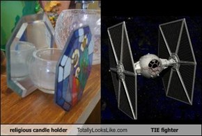 religious candle holder Totally Looks Like TIE fighter