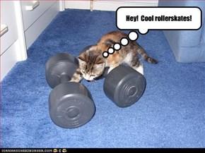 Hey!  Cool rollerskates!