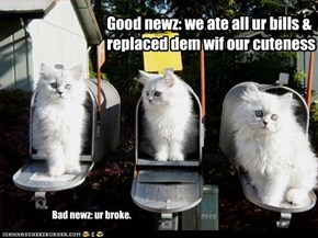Good newz: we ate all ur bills & replaced dem wif our cuteness