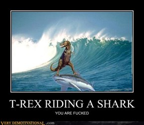 T-REX RIDING A SHARK