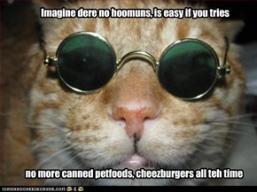 Imagine dere no hoomuns, is easy if you tries