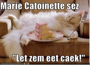 """Marie Catoinette sez  """"Let zem eet caek!"""""""
