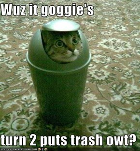 Wuz it goggie's  turn 2 puts trash owt?