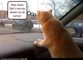Slow down.  Dat's my nip dealer on de corner.