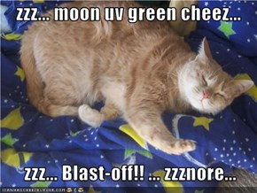 zzz... moon uv green cheez...      zzz... Blast-off!! ... zzznore...