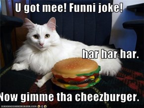 U got mee! Funni joke! har har har. Now gimme tha cheezburger.