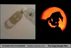 The shadow from my lampshade Totally Looks Like The Oogie Boogie Man