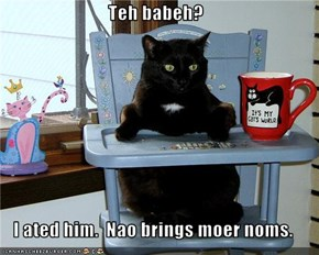 Teh babeh?  I ated him.  Nao brings moer noms.