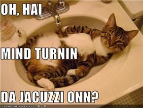OH, HAI MIND TURNIN DA JACUZZI ONN?