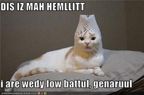 DIS IZ MAH HEMLLITT  i are wedy fow battul, genaruul