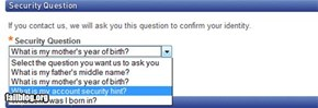 Account Security Question Fail