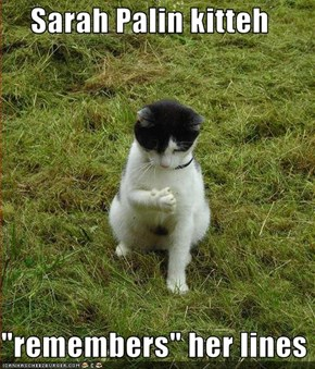 "Sarah Palin kitteh  ""remembers"" her lines"