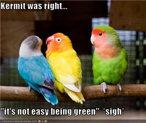 Kermit was right...  ''it's not easy being green''  *sigh*