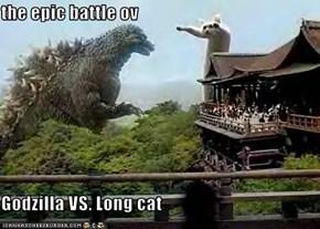 the epic battle ov  Godzilla VS. Long cat