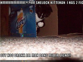 HMMMMMMMM?!? IM SHELOCK KITTEHAN  I HAS 2 FIGURE     OUT HOO DRANK ALL MAH DANG MILLIR LIGHT!!