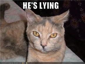HE'S LYING