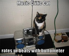 Music Critic Cat  rates ur beats with buttometer