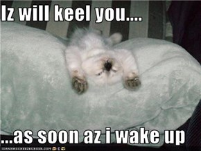 Iz will keel you....  ...as soon az i wake up