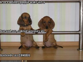 k so a weiner goggie waks in2 a  bar and sez, coktail weenies plz. bartendr sez CANUBIL