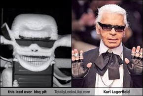 this iced over  bbq pit Totally Looks Like Karl Lagerfield