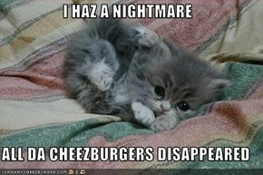 I HAZ A NIGHTMARE  ALL DA CHEEZBURGERS DISAPPEARED