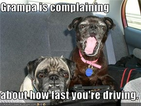 Grampa is complaining  about how fast you're driving.