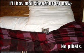 I'll hav mai cheezburger now.  No pikels.