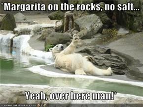 *Margarita on the rocks, no salt...    Yeah, over here man!*