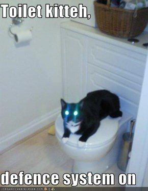 Toilet kitteh,  defence system on