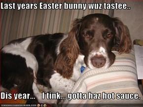 Last years Easter bunny wuz tastee..  Dis year...    I tink... gotta haz hot sauce.