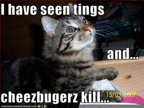 I have seen tings and... cheezbugerz kill...