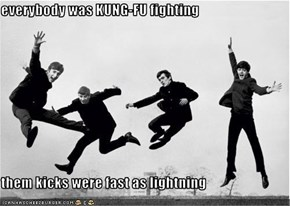 everybody was KUNG-FU fighting  them kicks were fast as lightning