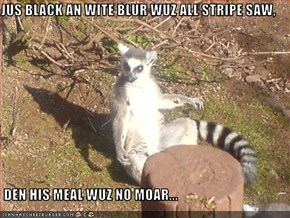 JUS BLACK AN WITE BLUR WUZ ALL STRIPE SAW,    DEN HIS MEAL WUZ NO MOAR...