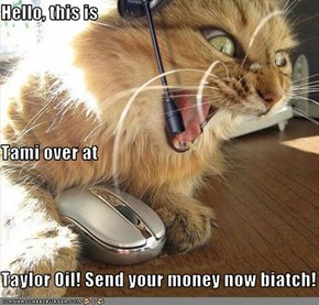 Hello, this is Tami over at Taylor Oil! Send your money now biatch!