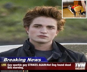 Breaking News - Gay sparkle guy STRIKES AGAIN:Hot Dog found dead this morning.