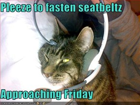Pleeze to fasten seatbeltz  Approaching Friday