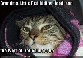 Grandma, Little Red Riding Hood, and   the Wolf, all rolled into one