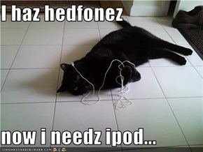 I haz hedfonez  now i needz ipod...