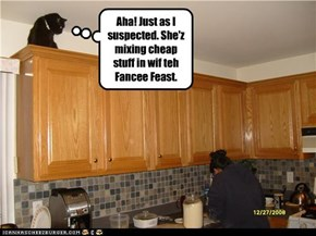 Aha! Just as I suspected. She'z mixing cheap stuff in wif teh Fancee Feast.
